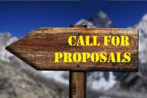 "The picture shows a sign with the text ""call for proposals"""